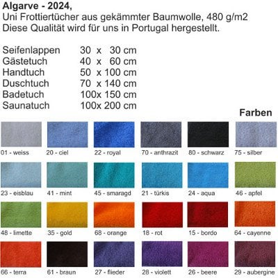 Frottee Farben
